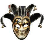 Lazzboy Maskerade Maske Harz Musik Karneval Wand Ostern Dekoration Geschenk Venezianische Gesichtsmaske Joker Fasching Maskenball(Schwarz)