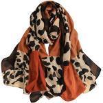 Lazzboy Schal 180 90 Cm Frauen Leopard Lange Weiche Wrap Simulation Cottonfabric Pashmina Schaltuch Jacquard Gewebt Muster Seidenschal Seidentuch Seidenpashmina(Orange)
