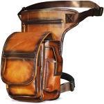 Le'aokuu Herren Echtes Leder Tasche Beinbeutel Beintasche Außenbeintasche Hüfttasche Drop Leg Thigh Bag Radfahren Tasche 3110 (3110 Orange)