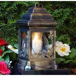 LED Grablaterne Rosen Grablampe Grablicht mit LED Grabkerze Grabschmuck Grableuchte Kerze Lampe Licht