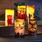 LED Halloween Kerzen Echtwachs verschiedene Modelle Flackerlicht...