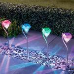 4er Set RGB LED Solarleuchten Außenlampen Terrasse Dekoration Farbwechsel bunt