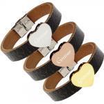 Leder-Armband schwarz mit Gravur Herz
