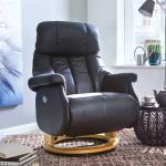 Leder Relaxsessel in Schwarz elektrisch