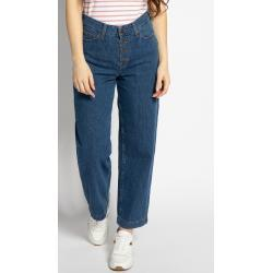Blaue LEE Boyfriend-Jeans mit Knopf für Damen