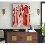 Leinwandbild Touched Flamingo Meeting in Rosa/Rot/Beige