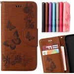 LEMORRY Handyhülle für Huawei P8 Lite (2017) Hülle Tasche Ledertasche Flip Beutel Slim Schutz Magnetisch Schließung SchutzHülle Weich Silikon Cover Schale für Huawei P8 Lite (2017), Butterfly Braun