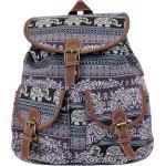 Leoodo Cityrucksack »Damen Rucksack ethno Elefanten Muster, Daypacks für Reise«, lila, Lila
