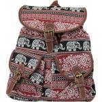 Leoodo Cityrucksack »Damen Rucksack ethno Elefanten Muster, Daypacks für Reise«, rot, Rot
