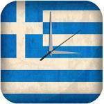 LEotiE SINCE 2004 Wanduhr mit geräuschlosem Uhrwerk Dekouhr Küchenuhr Baduhr Urlaub Reisebüro Deko Griechenland Flagge Acryl Uhr Retro