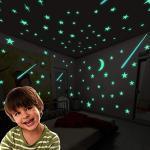 Leuchtsterne Wandtattoo, 112cs Leuchtsterne Punkten und Mond Wandsticker Mond und Sterne Sticker, im Dunkeln leuchtend für Kinderzimmer und Babyzimmer Decke