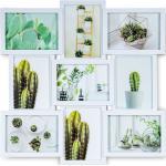Levandeo® Bilderrahmen Collage, Bilderrahmen 51,5x51,5cm Weiß 9 Fotos 13x18 Fotorahmen Collage Galerie, weiß, Weiß