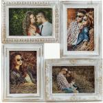 Levandeo® Bilderrahmen Collage, Bilderrahmen weiß gold gewischt 4 Fotos Barock antik Galerie Collage, Weiß Gold