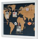 Levandeo® Memoboard, Memoboard Travel 50x40 Fotoleine Wandbild Holz Weltkarte Collage Map Wanddeko