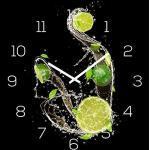 levandeo Wanduhr Glas 30x30cm Glasuhr Uhr Glasbild Frucht Küchenuhr Schwarz Deko Küchendeko Limette Lime Fruit Schwarz