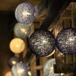 Lichterkette Cotton Ball 5M 50er LED Kugel Light Warmweiß, Treer mit 8 Modi Mehrere Farbe für Innen Teenager Baby Zimmer Deko Terrasse Weihnachten (Blau1,5m/50LED)