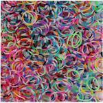 Lily Collection ca 600 Loom Bands Loom Bänder Gummibänder DIY Latex und Blei frei Armband Armbänder 12 S-Clips 1 Haken (600 x Weiß Bunt Mix Gestreift)