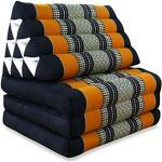 livasia Thaikissen mit 3 Auflagen, Kapok Dreieckskissen, Sitzkissen, Liegematte, Thaimatte (schwarz/orange)