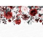 Livingwalls Fototapete Designwalls Vliestapete Mural Tapete mit Blumen in Braun, Grau, Rosa, Rot, Taupe, Weiß 350 x 255 cm XXL Wandtapete Wandbild 118528