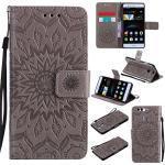 LMAZWUFULM Hülle für Huawei P9 lite/VNS-L31 5,2 Zoll PU Leder Magnet Brieftasche Lederhülle Sonnenblume Prägung Design Stent-Funktion Ledertasche Flip Cover Grey