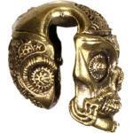 Lobe Piercing Messing Antik Gold Steam Punk Skull 12mm Plug Ohr Mayan Hook 4mm