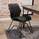 Loft Design Stühle in Anthrazit Kunstleder Metallgestell (2er Set)