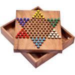 LOGOPLAY Halma Gr. S - Stern Halma - Chinese Checkers - Strategiespiel - Gesellschaftsspiel aus Holz