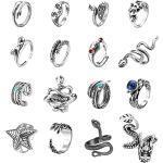LOLIAS 16 Stück Vintage Punk Ringe Set Oktopus Frosch Tiger Drachen Schädel Schlange Umarmung Punk Ring für Männer Frauen Einstellbare offene Ringe Pack Cool Gothic Ring Set Schmuck Geschenk