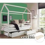 Lomadox Funktionsbett »LUANA-78«, Hausbett Kinderbett 90x200 cm mit hohem Dach massiv in weiß, B/H/T: ca. 211/200/105 cm, mit 2 Schubladen