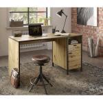 Lomadox Schreibtisch »INDORE-10«, Industrial Design in Artisan Eiche Nb./Stahl dunkel, B/H/T: ca. 135/75,5/60 cm, braun