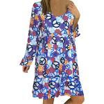 LOPILY Damen blumenmuster boho style plus größe swing-blumendruck knielänge kurzärmeliges kleid tunika-kleid uk xl x4_dunkelblau