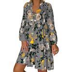LOPILY Frauen Große Größen Blumenmuster Kleider Boho Stil Übergröße Sommerkleider Blumendruck Knielang Kleid Kurzarm Kleid Tunika Swing Kleid (Grau,42)