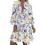 LOPILY Frauen Große Größen Blumenmuster Kleider Boho Stil Übergröße Sommerkleider Blumendruck Knielang Kleid Kurzarm Kleid Tunika Swing Kleid (Grün, 54)