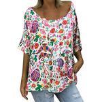 LOPILY Hippie Oberteile Damen Blumen Gedruckte Bluse mit Trompetenärmel Farbblock Tunika Große Größen für Freizeit Urlaubsbekleidung O-Neck Lose Lässige Oversize Oberteile 56 54 52 50 (Weiß, 48)