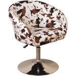 Lounge Sessel in Weiß Braun gefleckt höhenverstellbar