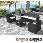 Loungeset Gartenmöbelset Outdoor Rattan Tisch Sofa Sessel 5 Pläzte Positano | Schwarz - Grand Soleil