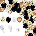 Luftballons Schwarz Weiß Gold, Girlande Ballonbogen Kit, Schwarz Weiß und Gold Luftballons Pack Bogen für Babyparty Kinder Hochzeit Männer Junge Party Dekoration