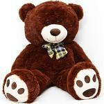 Lumaland Riesen XXL Teddybär Plüsch Kuschelbär Kuscheltier mit Kulleraugen 120 cm Dunkelbraun