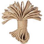 LUOOV 100% Natur Hanf Cord Seilen 6 mm Dicke und Starke Jute Seil Band, Camping Seil, Garten, Wassersport, Tauziehen, Haustiere, Kletterseil, Mehrzweck-Sisal Twine Rope, 10 Mio. (32ft) -40 m (128ft)