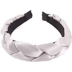 Lurrose geflochtenes Stirnband mit dicken Satingeflechten, Vintage-Stil, gepolsterter Haarreif, modisches Haaraccessoire für Frauen (lila)