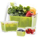 Luxear Vorratsdose, PETG, (Set, 3-tlg., 3 Stk), Frischhaltedosen Obst Gemüse mit Deckel, Vorratsdosen 3er Set 0.5L+1.7L+4.5L BPA frei, Frischhalteboxen dicht und trennbar, Kühlschrankdosen zum Aufbewahren oder Mitnehmen, grün