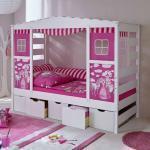 Mädchen Kinderbett in Weiß Rosa Schubladen