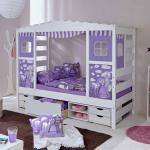 Mädchenbett mit Prinzessin Motiven Weiß Lila