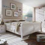 Maison Belfort Massivholz-Doppelbett Cenan 140x200 cm Kiefer Massivholz Weiß gebeizt mit Bettkasten