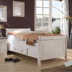 Maison Belfort Massivholz-Einzelbett Cenan 90x200 cm Massivholz Kiefer Weiß mit Bettkasten Landhaus