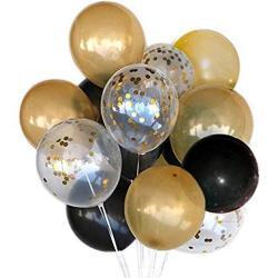 "MAKFORT 56 Stück 12"" Luftballons Halloween Deko Schwarz Gold und Konfetti Luftballon"