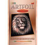 MAMMUT 8271019 - Artfoil, Kratzbild, Tiermotiv, Löwe, kupfer, Komplettset mit Kratzbild, Kratzmesser und Anleitung, Scraper, Scratch, glänzend, Kratzset für Kinder ab 8 Jahre