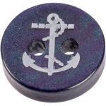 Maritimer Knopf aus Kunststoff in Perlmuttblau mit silbernem Anker 11mm