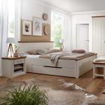 Massivholz Bettgestell in Creme Weiß und Eichefarben Landhausstil (3-teilig)