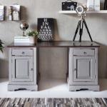 Massivholz Schreibtisch aus Akazie Grau und Dunkelbraun